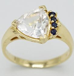14kt Gold Sapphire & Gemstone Trilliant Ring
