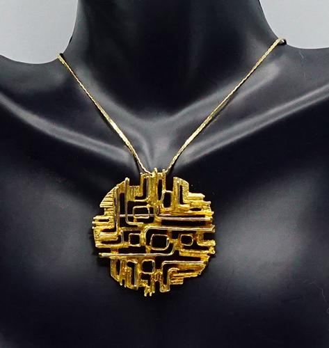 Unique 14kt Solid Gold Pendant and Chain Necklace