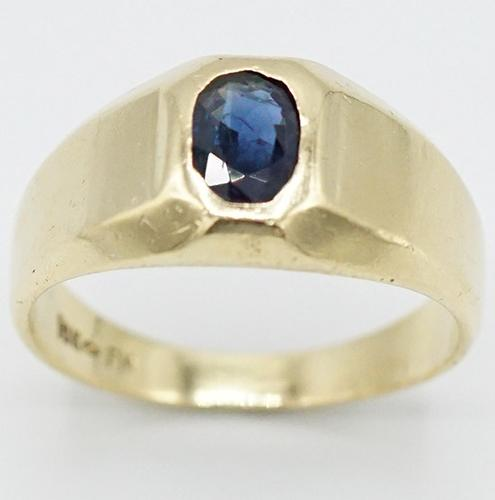 Unisex Solid Gold & Natural Sapphire Inset Band Ring