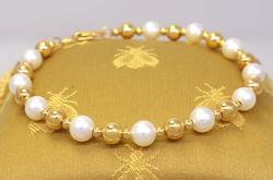 Pearl & Gold Beaded Bracelet, 7.5in