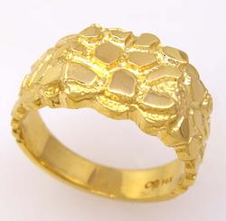 Mens Gold Nugget Ring, Size 9.75