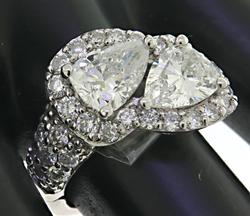 2 Natural Pear Brilliant White Diamond Ring