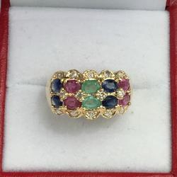 Fancy 14kt Precious Gemstone & Diamond Band Ring
