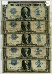 5 Circulated 1923 Series Large Size $1 Silver Certs