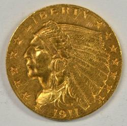 Great-looking 1911 US $2.50 Indian Gold Piece. Nice
