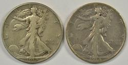 2 Scarce 1938-D Walking Liberty Half Dollars