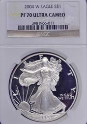 2004-W PF70 Silver Eagle, NGC