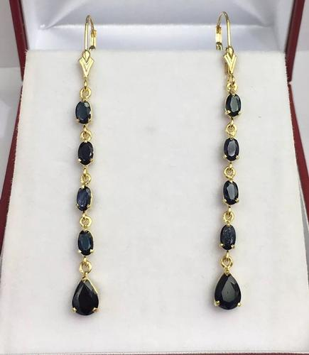 14kt Solid Gold Natural Blue Sapphire Dangle Earrings