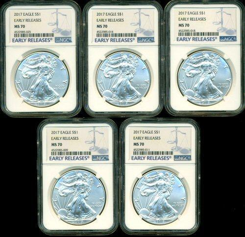 Special lot of 5 NGC MS70 graded 2017 $1 Silver Eagles