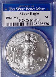 2013 (W) MS70 Silver Eagle, PCGS