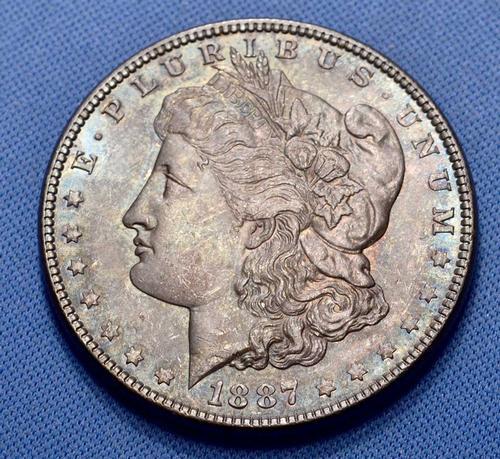 Dark Greenish Lustrous Toned UNC 1887 Morgan Dollar