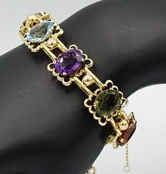 Vibrant 18kt Gold Natural Gemstone Bracelet, 38+ Carats!