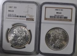 1884 O And 1887 MS 63 NGC Holdered Frosty White Morgans