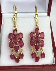 14kt Solid Gold 5.0 Carat Ruby Earrings