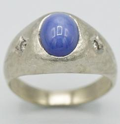 Men's 4+ Carat Star Sapphire & Diamond Ring in Solid Gold!