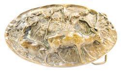 1978 Large 3-D Brass Deer Belt Buckle