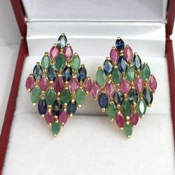 Fabulous 5.0 Carat Precious Gemstone Earrings, 14kt
