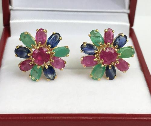 Fun 14kt Gold Precious Gemstone Earrings