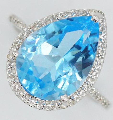 SWISS BLUE & WHITE TOPAZ COCKTAIL RING
