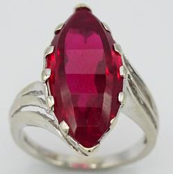 Large Marquise 7.0 Carat Ruby Solitaire Cocktail Ring in 14kt Gold!