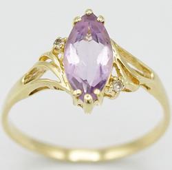 14kt Solid Yellow Gold Amethyst & Diamond Ring