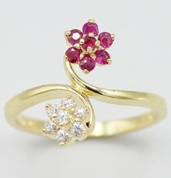 14kt Yellow Gold Ruby Bypass Ring