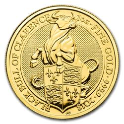 2018 1oz British Gold Queens Beast Black Bull