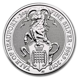 2019 2oz British Silver Queens Beast Yale of Beaufort