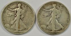 Scarce 1918-S & 1938-D Walking Liberty Half Dollars