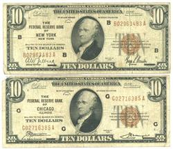 2 Diff. 1929 Series $10 National Currency Notes.
