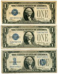 1928-A, 1928-B, & 1934 'Funny Backs' $1 Silver Certs