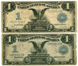 2 1899 Series Large Size $1 Black Eagle Silver Certs