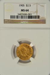 Virtual Gem BU 1905 $2.50 Liberty Gold Piece. NGC MS64