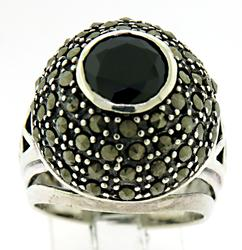 Marcasite and Black Stone Ring