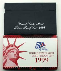 1998 and Scarcer 1999 US Silver Proof Sets