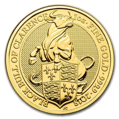 2018 1oz British Gold Queens Beast Black Bull