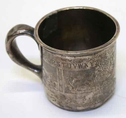 Large Childs Sterling Silver Mug with Acid Etched Animals