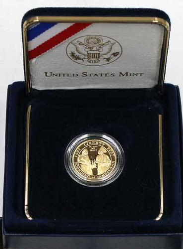 2007 $5 Proof US Gold 400TH Ann Jamestown With Box &Paper
