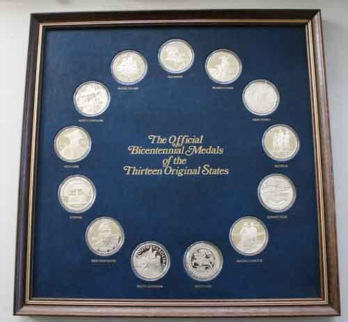 The Official Sterling Silverl Bicentennial Medals of the 13 Original States