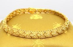 Ornate Design Gold Bracelet, 7in