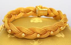 18K Gold Braided & Beaded Bracelet, 7in