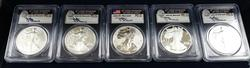 2011 25th Aniv Silver Eagle 5pc Set Graded MS/PF70 PCGS