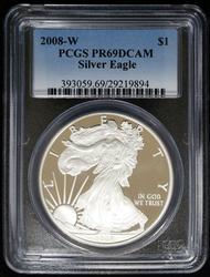 Certified 2008 W Silver Eagle PCGS PF69