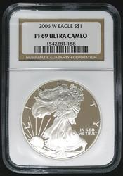 Certified 2006 W Proof Silver Eagle NGC PF69