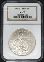 Certified Commemorative 2004 P Edison NGC MS69