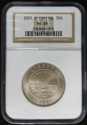 Certified Half Dollar 2001 P Capitol NGC MS69