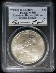 Certified Dollar 1994 W Women in Service PCGS MS69