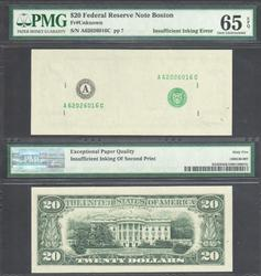 $20 FRN Missing 2nd Print PMG GEM UNC 65 EPQ