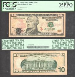 $10 2009 Dropped Block Error PCGS VF 35 PPQ