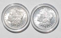 1889 and 1904 O Frosty White BU Morgan Dollars